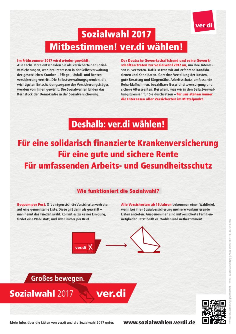 Wahlen zur Soziale Selbstverwaltung 2017: ver.di wählen